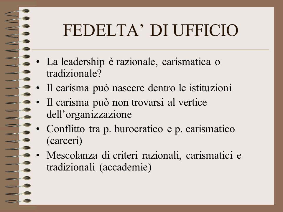 FEDELTA' DI UFFICIO La leadership è razionale, carismatica o tradizionale Il carisma può nascere dentro le istituzioni.