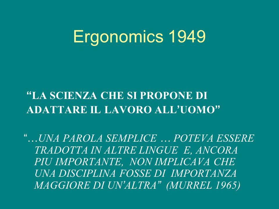 Ergonomics 1949 LA SCIENZA CHE SI PROPONE DI