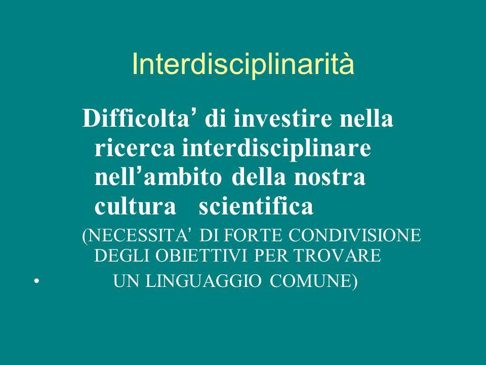 Interdisciplinarità Difficolta' di investire nella ricerca interdisciplinare nell'ambito della nostra cultura scientifica.