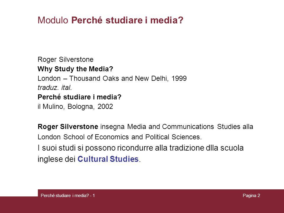 Modulo Perché studiare i media