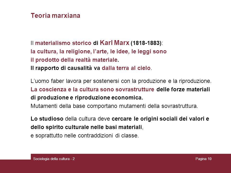 Teoria marxiana Il materialismo storico di Karl Marx (1818-1883):