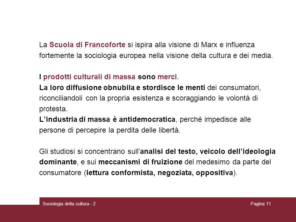 La Scuola di Francoforte si ispira alla visione di Marx e influenza