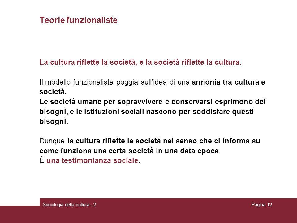 Teorie funzionaliste La cultura riflette la società, e la società riflette la cultura.