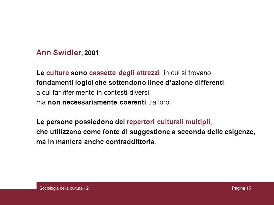 Ann Swidler, 2001 Le culture sono cassette degli attrezzi, in cui si trovano. fondamenti logici che sottendono linee d'azione differenti,