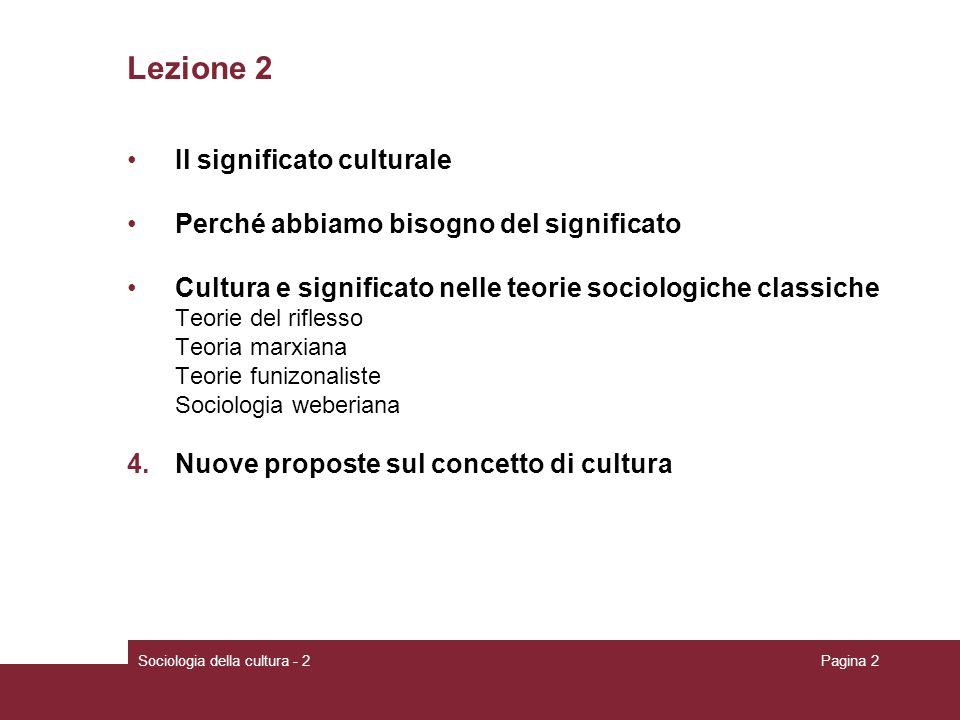 Lezione 2 Il significato culturale