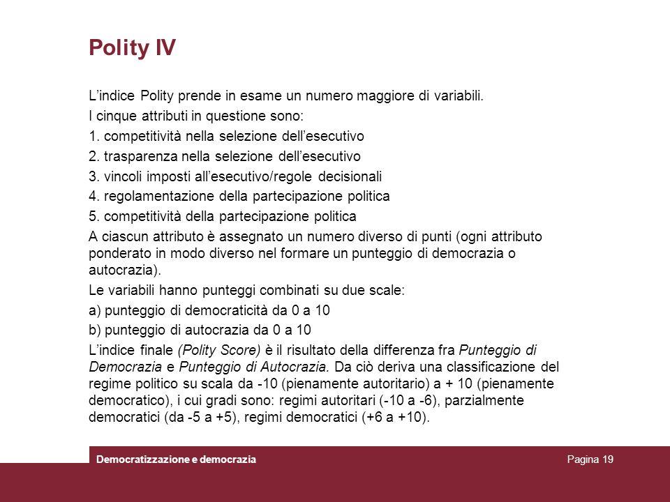 Polity IV L'indice Polity prende in esame un numero maggiore di variabili. I cinque attributi in questione sono: