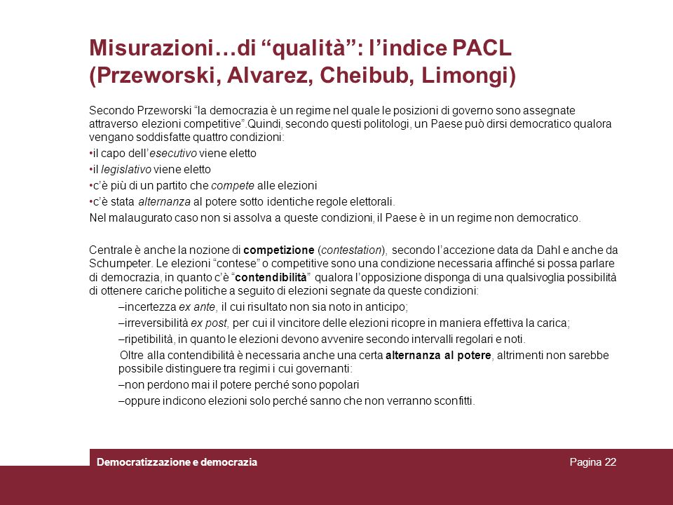 Misurazioni…di qualità : l'indice PACL (Przeworski, Alvarez, Cheibub, Limongi)