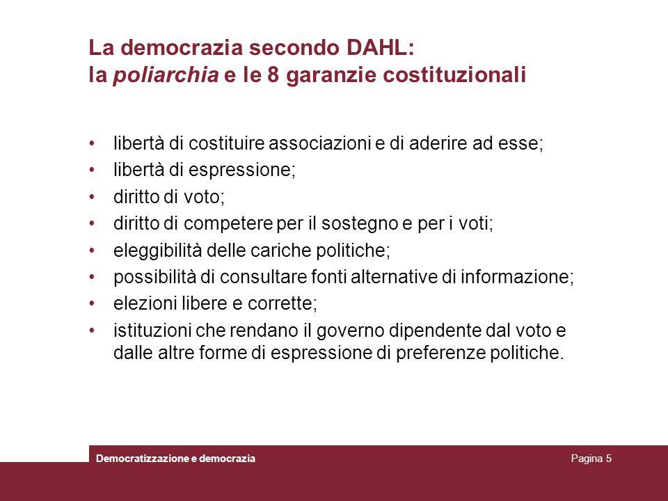 La democrazia secondo DAHL: la poliarchia e le 8 garanzie costituzionali