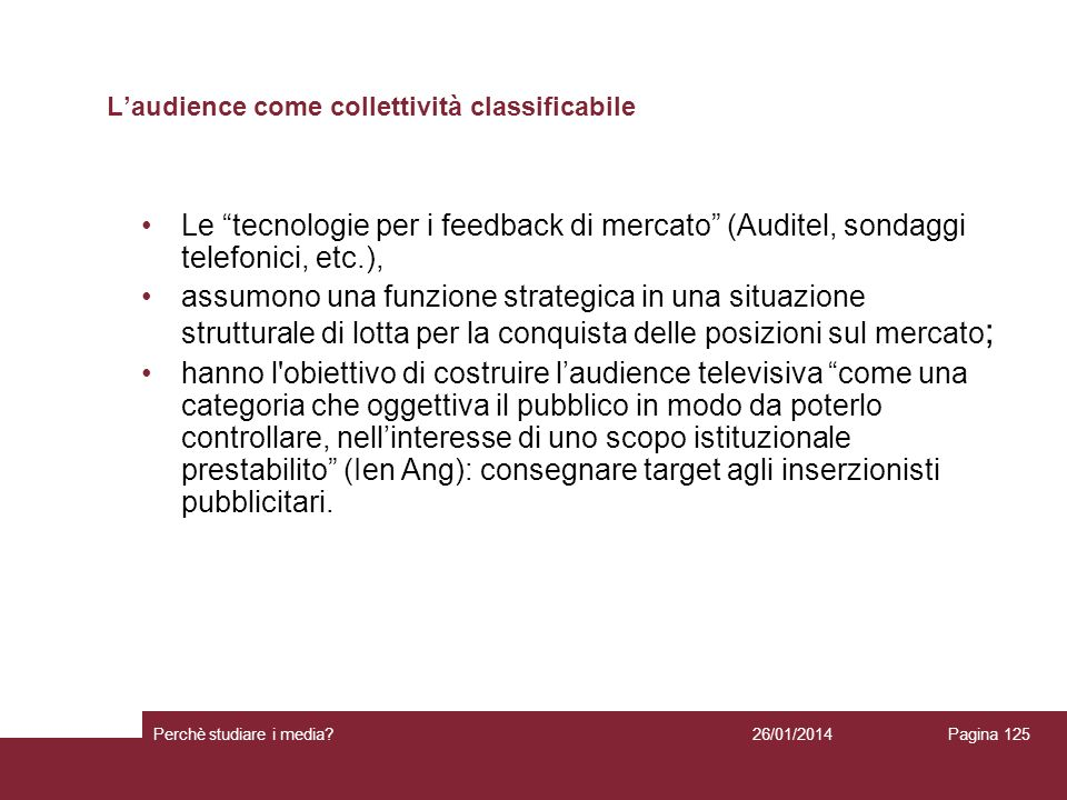L'audience come collettività classificabile