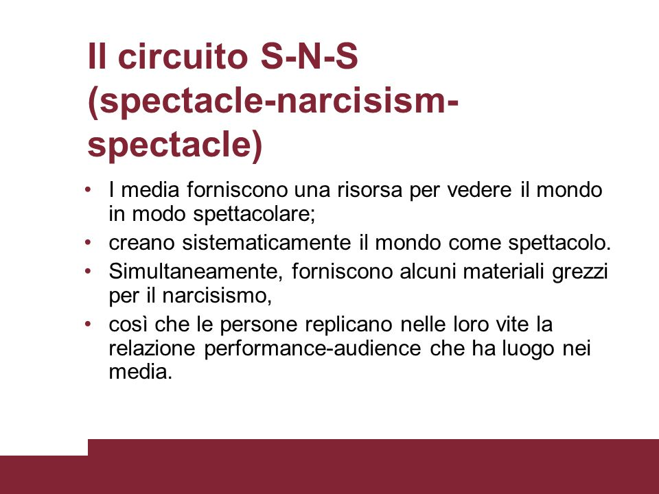 Il circuito S-N-S (spectacle-narcisism-spectacle)