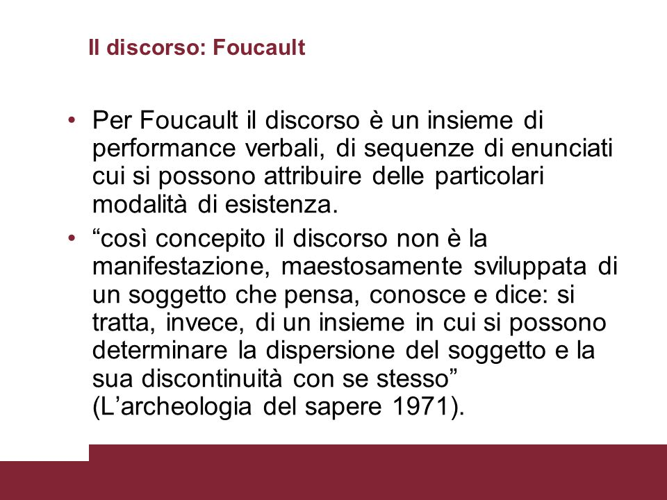 Il discorso: Foucault