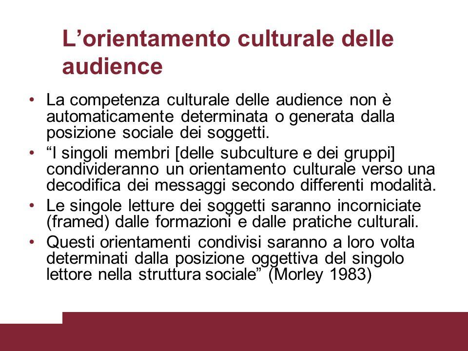 L'orientamento culturale delle audience