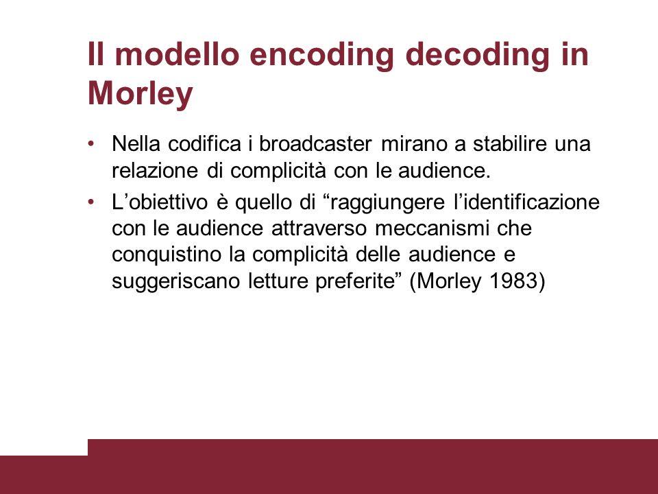Il modello encoding decoding in Morley