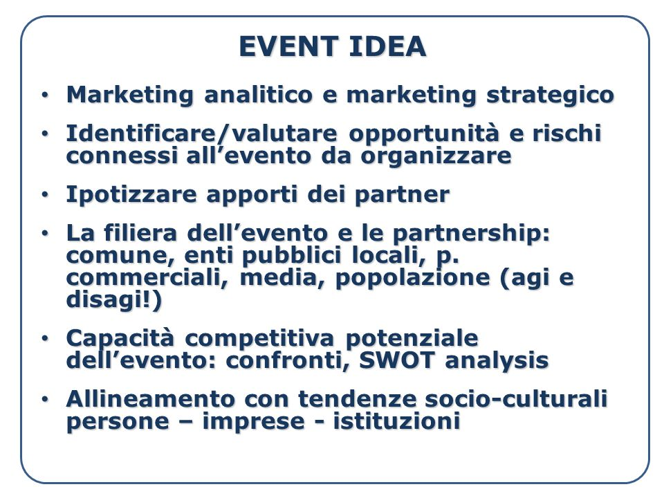 EVENT IDEA Marketing analitico e marketing strategico
