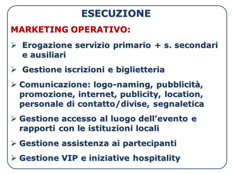 ESECUZIONE MARKETING OPERATIVO: