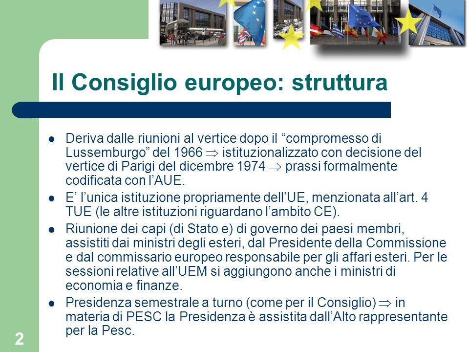 Il Consiglio europeo: struttura