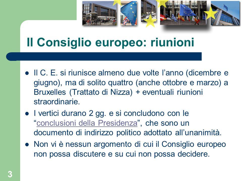 Il Consiglio europeo: riunioni