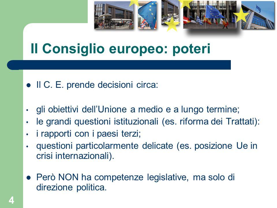 Il Consiglio europeo: poteri
