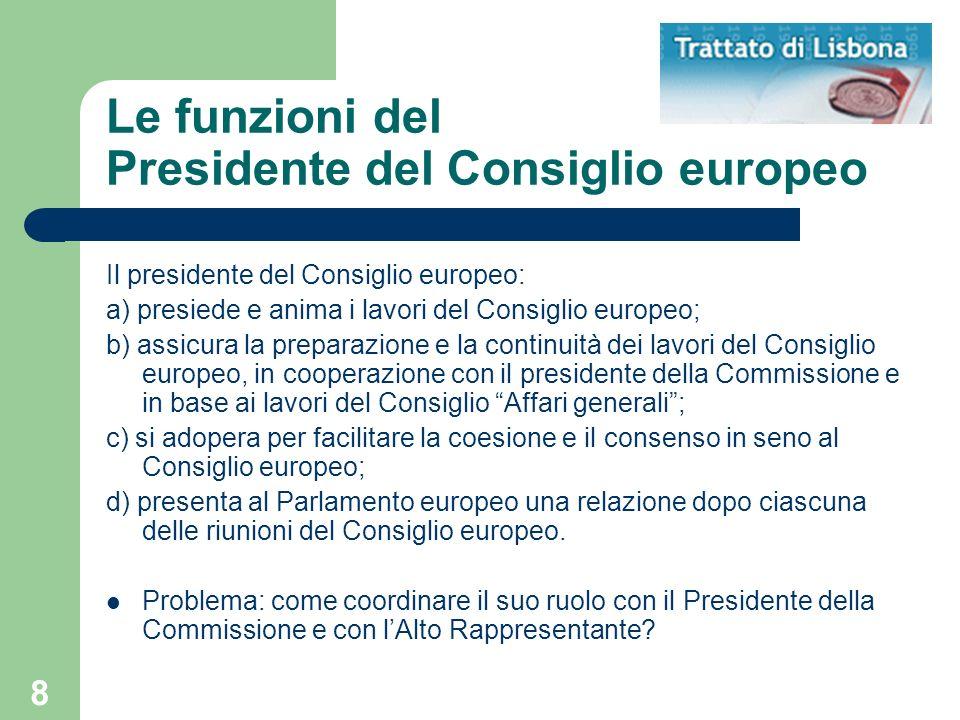 Le funzioni del Presidente del Consiglio europeo