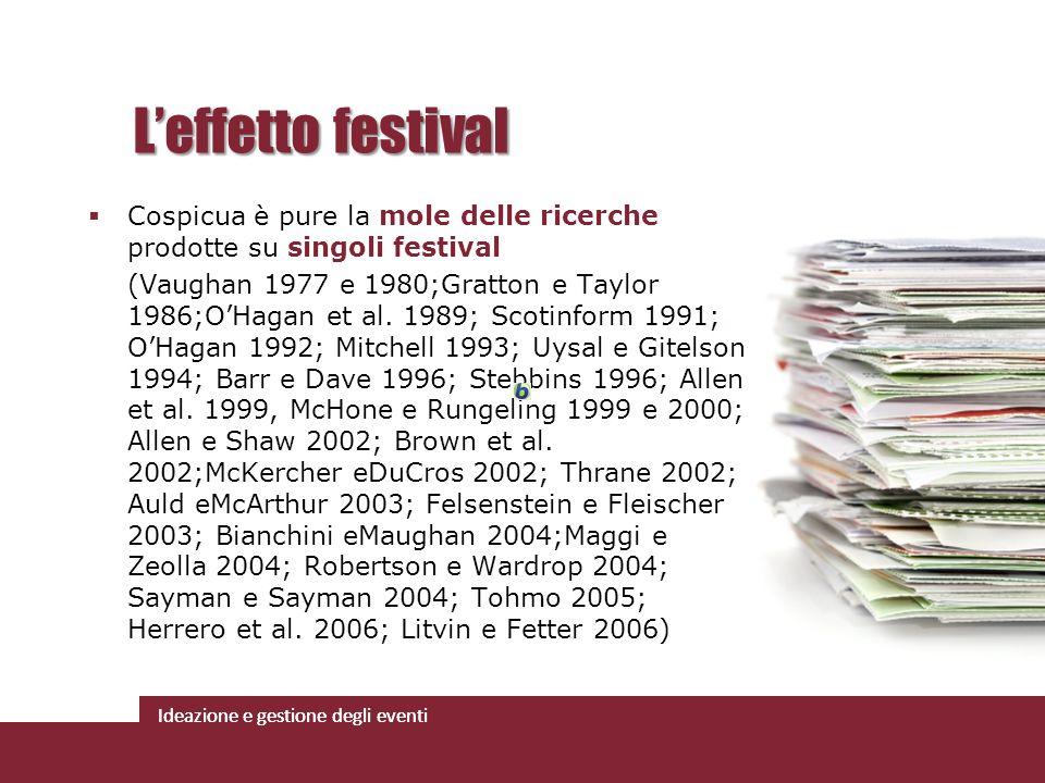L'effetto festival Cospicua è pure la mole delle ricerche prodotte su singoli festival.