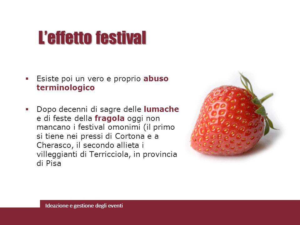 L'effetto festival Esiste poi un vero e proprio abuso terminologico