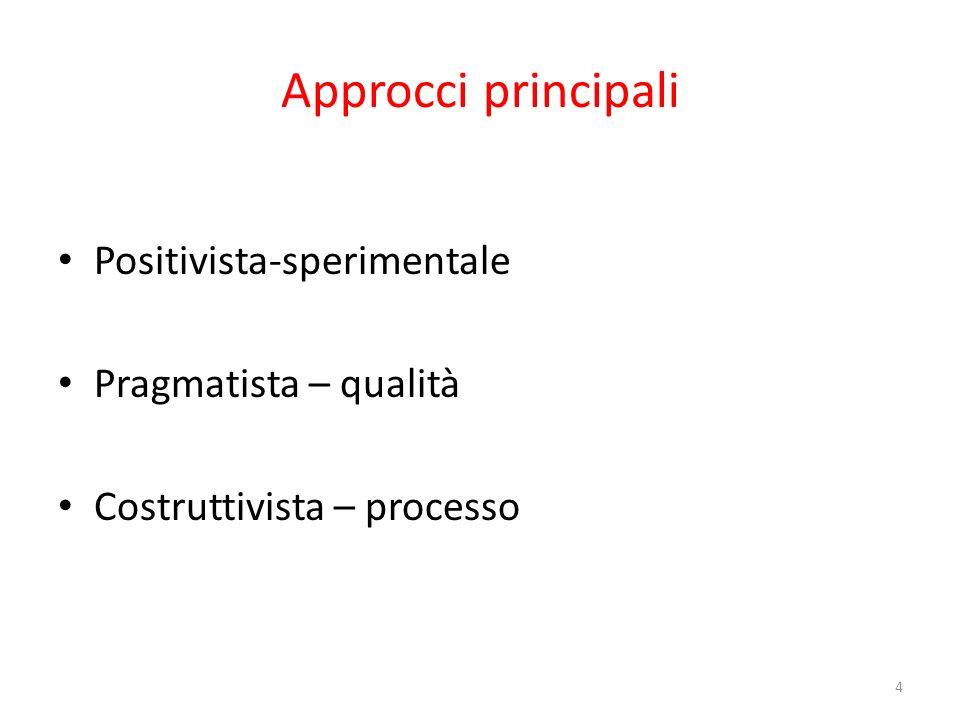 Approcci principali Positivista-sperimentale Pragmatista – qualità
