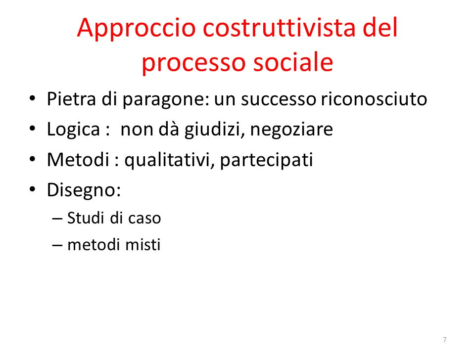Approccio costruttivista del processo sociale