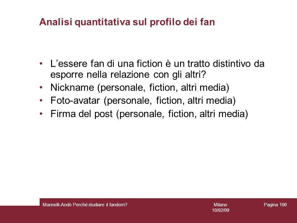 Analisi quantitativa sul profilo dei fan