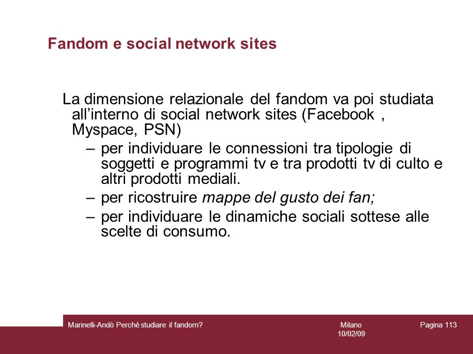 Fandom e social network sites
