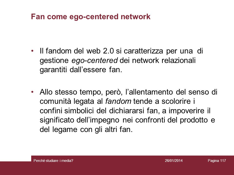 Fan come ego-centered network