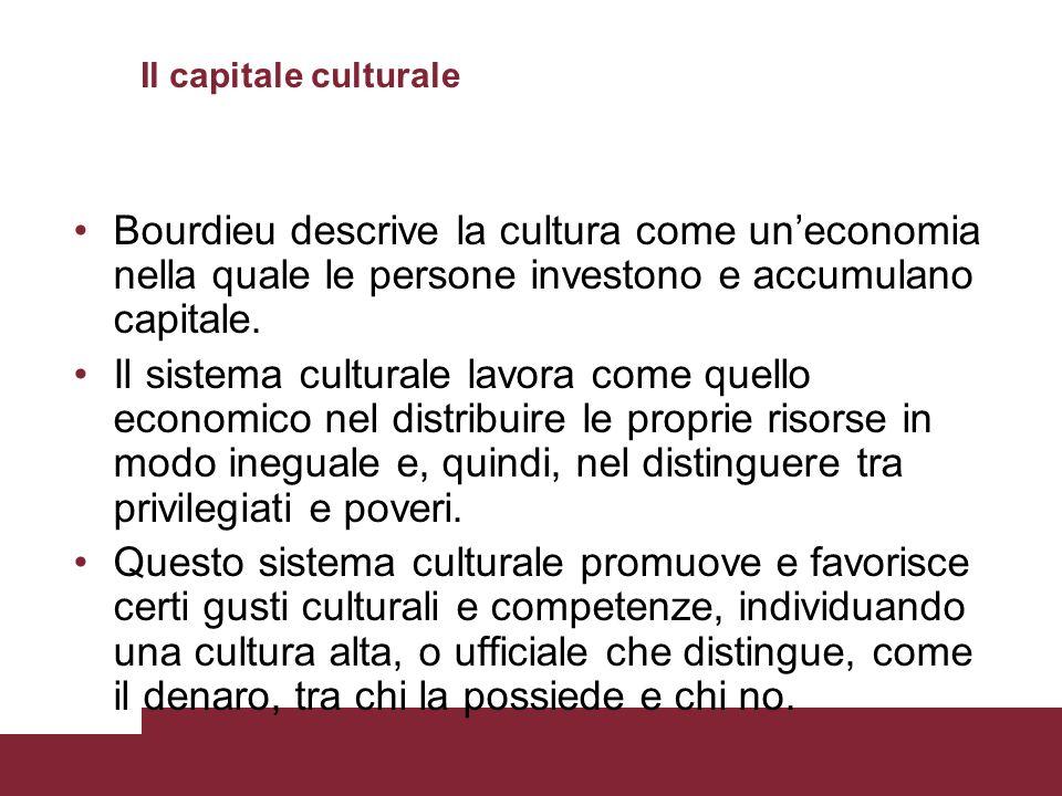 Il capitale culturale Bourdieu descrive la cultura come un'economia nella quale le persone investono e accumulano capitale.