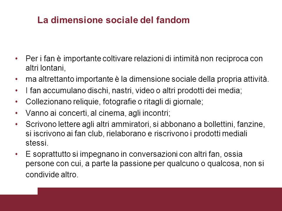 La dimensione sociale del fandom