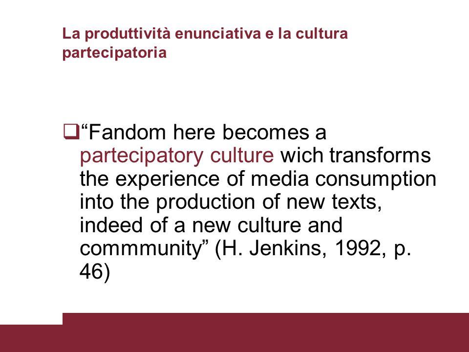 La produttività enunciativa e la cultura partecipatoria