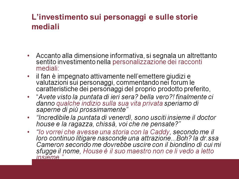 L'investimento sui personaggi e sulle storie mediali