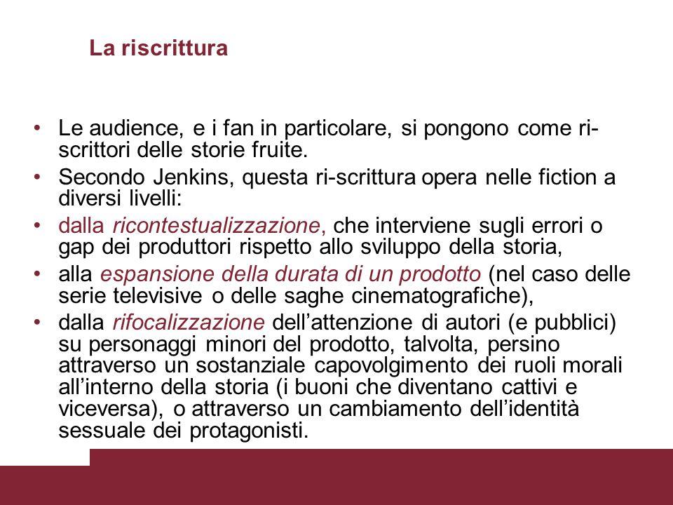 La riscrittura Le audience, e i fan in particolare, si pongono come ri-scrittori delle storie fruite.