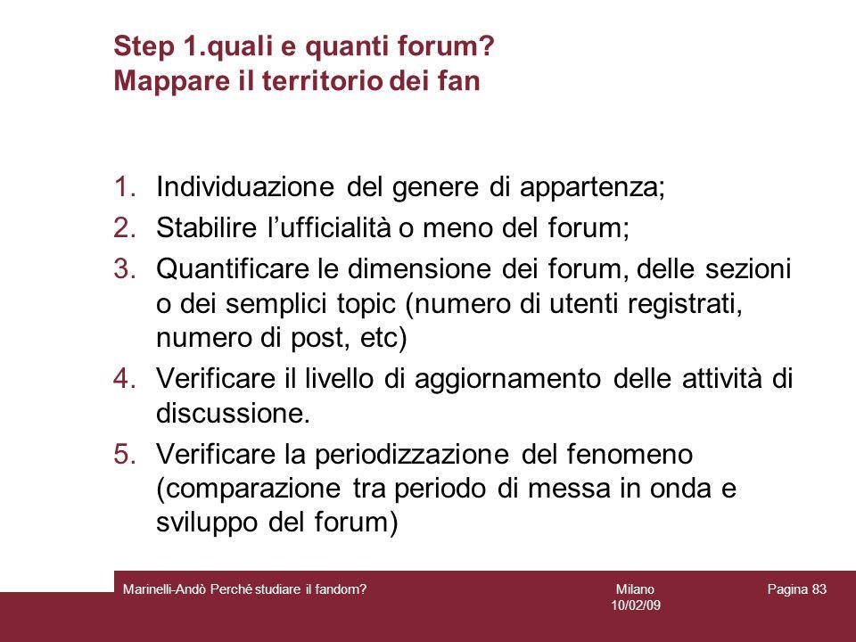 Step 1.quali e quanti forum Mappare il territorio dei fan