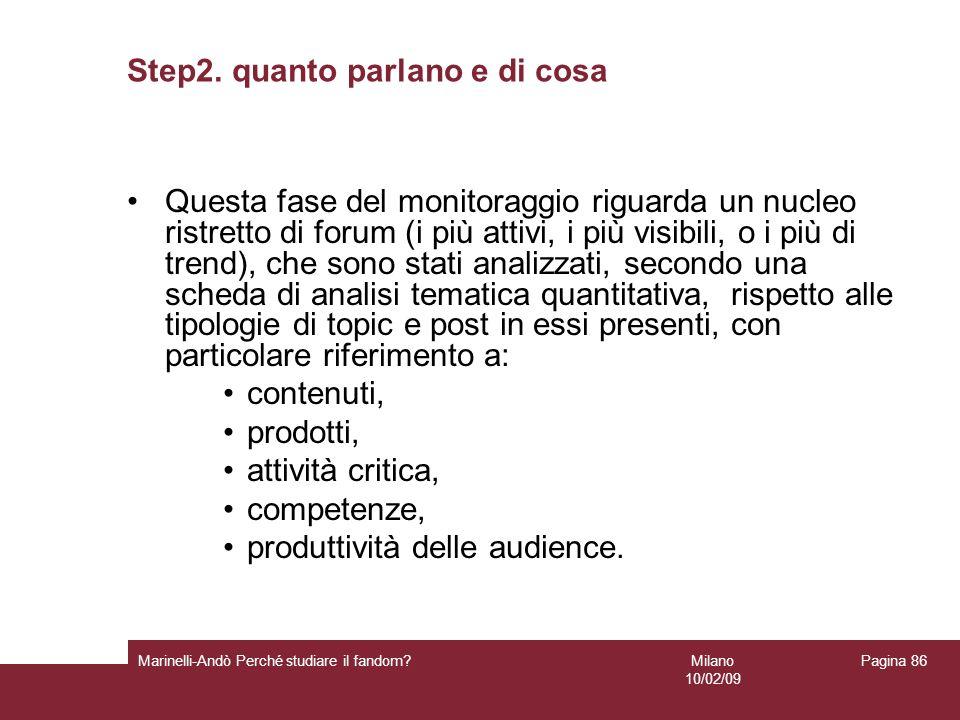 Step2. quanto parlano e di cosa