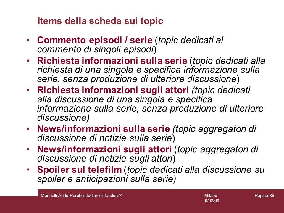 Items della scheda sui topic