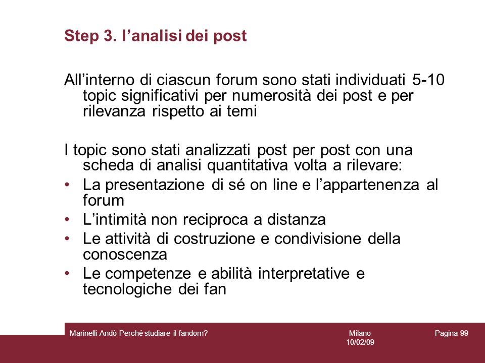 Step 3. l'analisi dei post