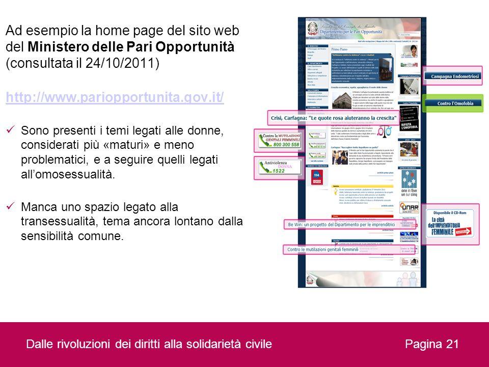 Ad esempio la home page del sito web del Ministero delle Pari Opportunità (consultata il 24/10/2011)