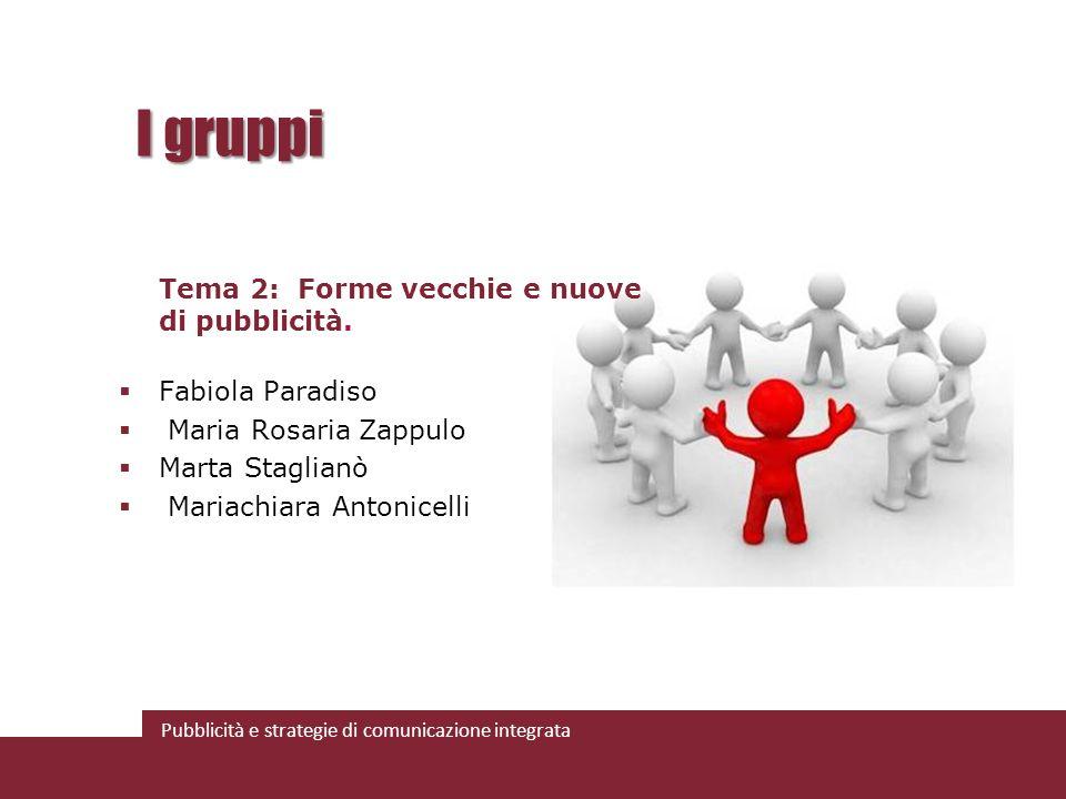 I gruppi Tema 2: Forme vecchie e nuove di pubblicità. Fabiola Paradiso