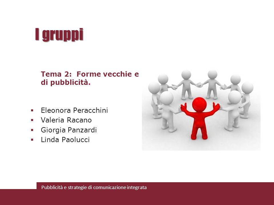 I gruppi Tema 2: Forme vecchie e nuove di pubblicità.