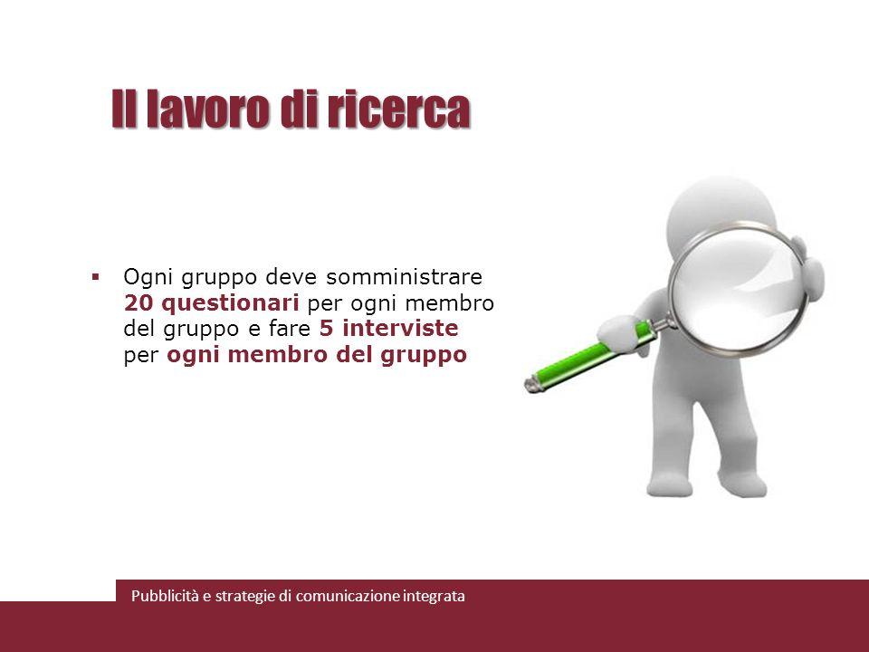 Il lavoro di ricerca Ogni gruppo deve somministrare 20 questionari per ogni membro del gruppo e fare 5 interviste per ogni membro del gruppo.