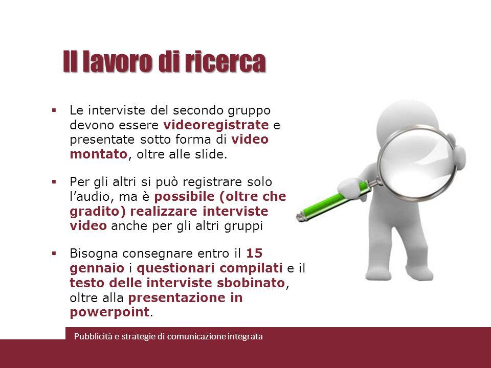 Il lavoro di ricerca Le interviste del secondo gruppo devono essere videoregistrate e presentate sotto forma di video montato, oltre alle slide.