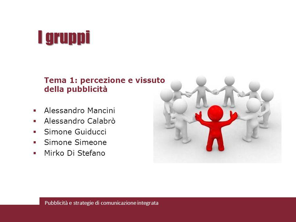 I gruppi Tema 1: percezione e vissuto della pubblicità
