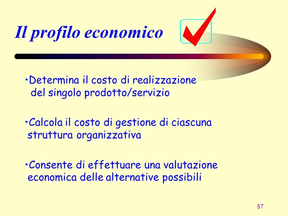 Il profilo economico Determina il costo di realizzazione del singolo prodotto/servizio.