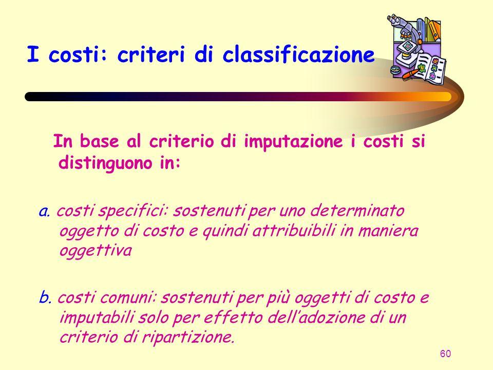 I costi: criteri di classificazione