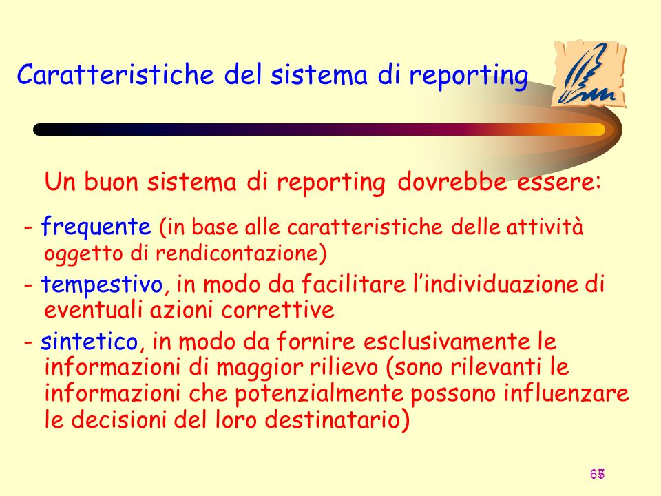 Caratteristiche del sistema di reporting
