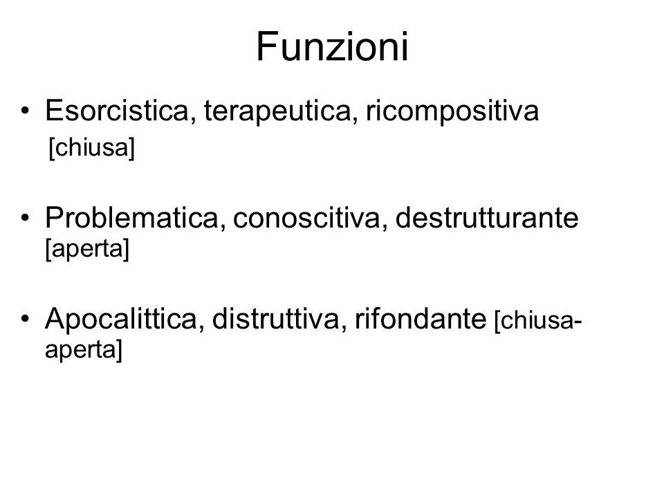 Funzioni Esorcistica, terapeutica, ricompositiva