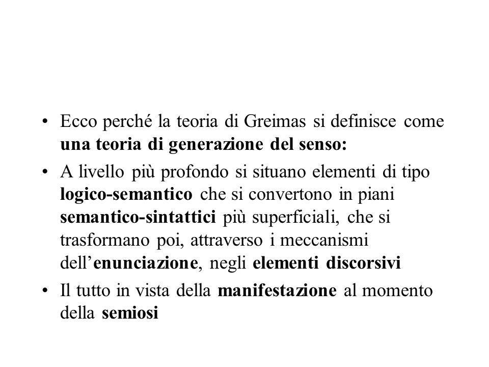 Ecco perché la teoria di Greimas si definisce come una teoria di generazione del senso: